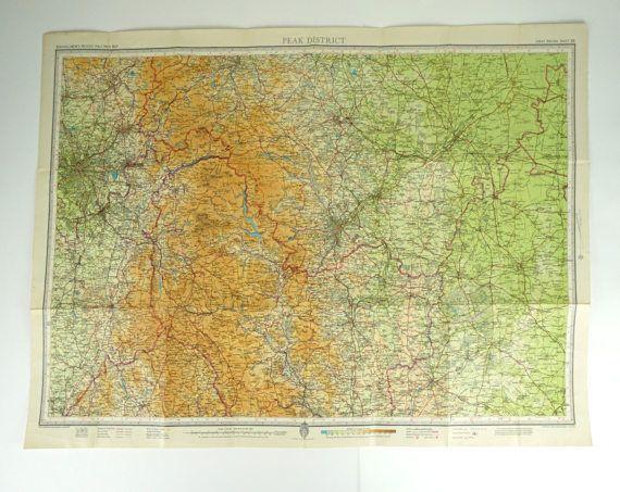 Peak District Map. Vintage Map of Peak District by PeonyandThistle