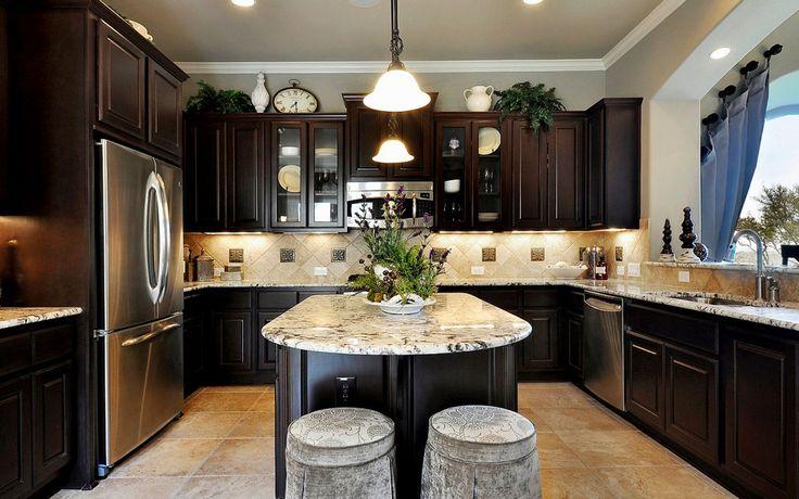Dark Wood Cabinets Kitchen - http://behomedesign.xyz/dark-wood-cabinets-kitchen/