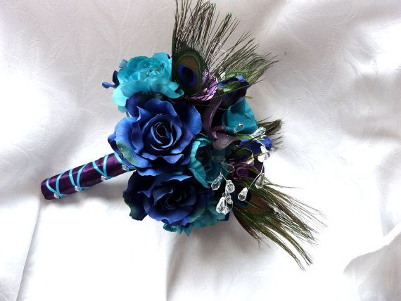 Peacock feather wedding bouquet turquoise purple eggplant silk flowers feather bridal bouquet and boutonniere set on Etsy, $134.00