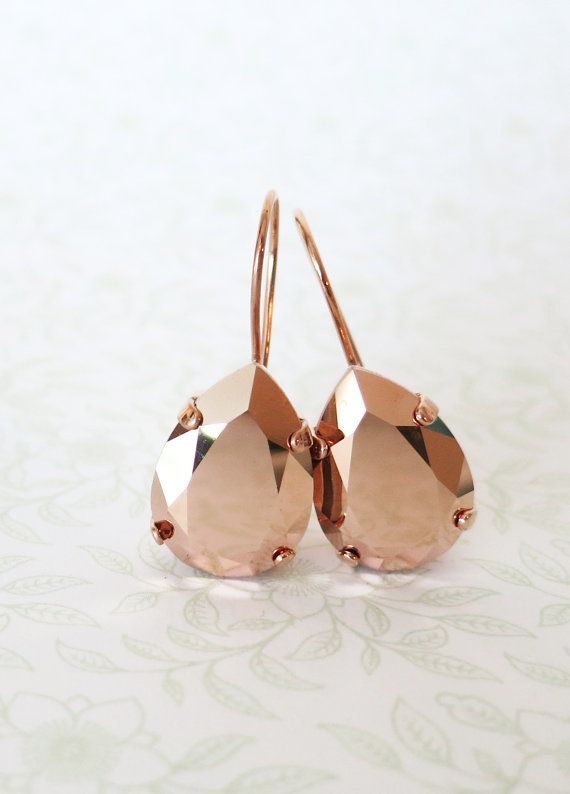 Rose Gold Swarovski Crystal Teardrop Earrings, wedding bridal earrings, bridal bridesmaid gifts, pink gold weddings, by ColorMeMissy