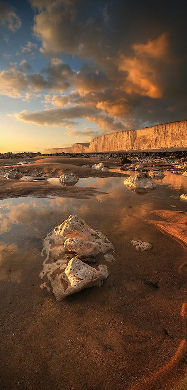 Sunset at Birling Gap, East Sussex, England