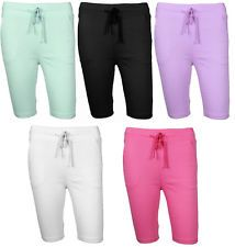 Ladies Knee 1/2 Length Shorts Slim Fit Trouser Coloured Stretch Pants Leggings