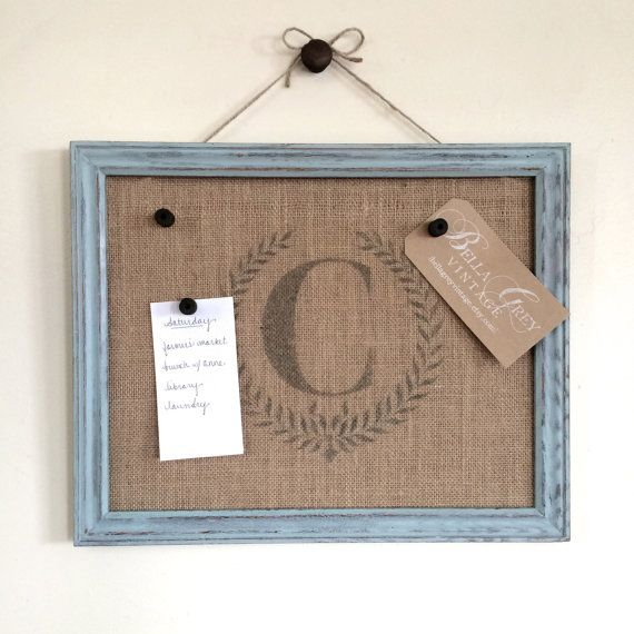 Distressed Wood Framed Burlap Cork Board  Memo by BellaGreyVintage, $58.00. Different colors avail.