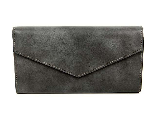 DARK GREY LEATHER EFFECT MULTI-COMPARTMENT PURSE WITH WRIST STRAP, £8.99 - A-SHU.CO.UK