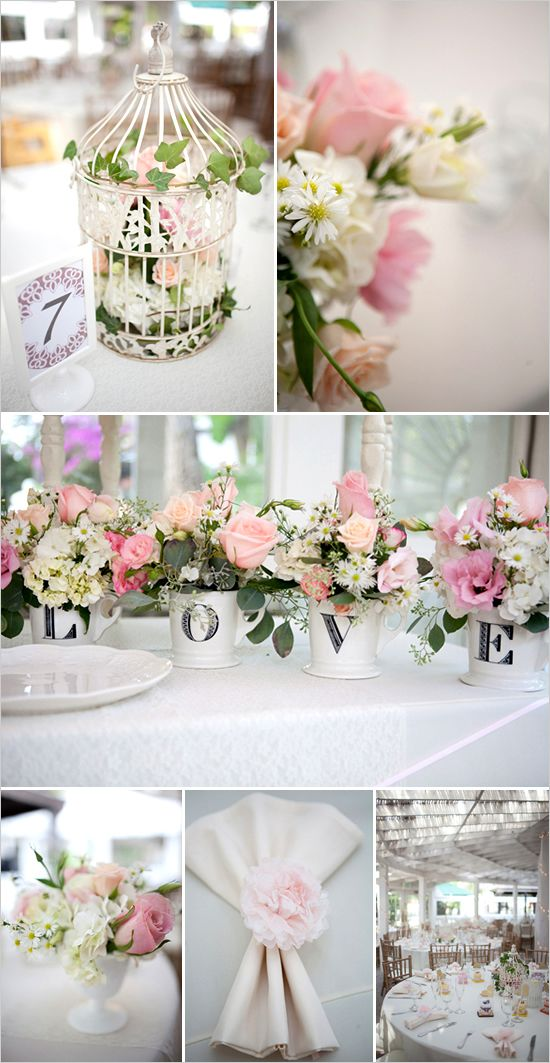 Beautiful flowers and the birdcage centrepiece is something I've already thought about.