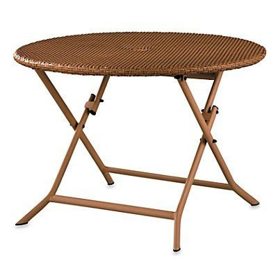 Resin Wicker Round Folding Table - Espresso - Improvements by Improvements. $299.99. Aluminum frames are powder-coated to resist rust and chipping. The Resin Wicker Tables have folding bases so they're easier to store at the end of the season. All-weather resin wicker furniture can be used to enhance your patio, deck, porch or 3-season room. All-weather resin wicker furniture can be used to enhance your patio, deck, porch or 3-season room. The Resin Wicker Tables have foldi...