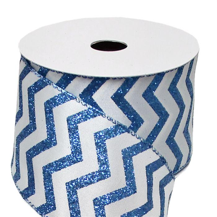 Blue & White Glittered Chevron Ribbon - 2.5' x 10 yd