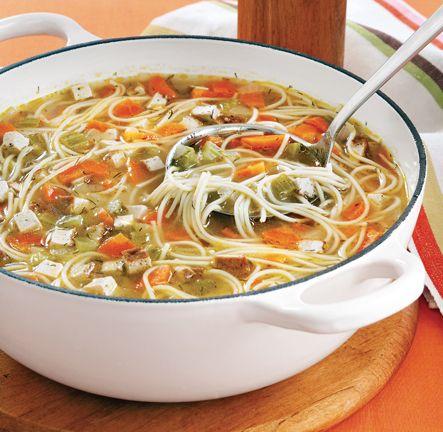 vegan mock chicken noodle soup