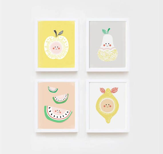 This is a set of four cute fruit prints. It will bring a modern touch to your nursery or playroom and will inspire your little one every day. FILES INCLUDED  • 4 JPG 8x10 Each file is high-resolution (300 dpi), which will get you very clean prints.  The files will be delivered electronically. Within minutes of your order and payment, an email will be sent to the address you have associated with your Etsy account with a link for your download.  Print at home, at your local print shop or…