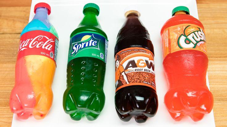 Giant Gummy Cola Bottle – 3 Ways to Make Gummy Bottles (orange crush, sprite, rootbeer, coca cola)