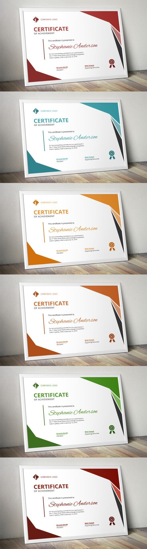 Modern MS Word certificate design. Printables. $5.00