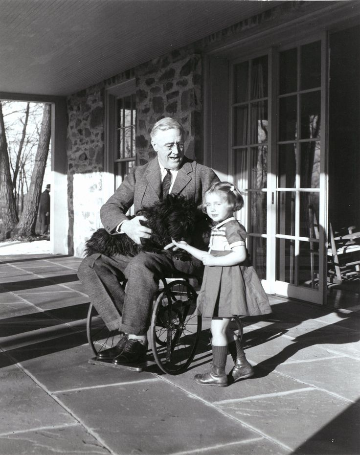 Franklin D. Roosevelt with Fala and Ruthie Bie in Hyde Park, New York, 1941