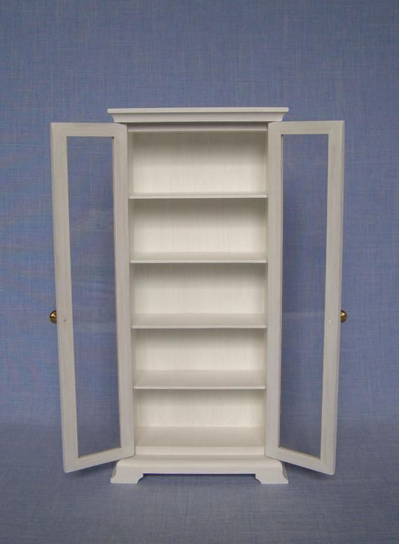 1 6 Scale White Bookcase With Glass Doors For 12 Inch Doll Etsy Bookcase With Glass Doors White Bookcase Glass Cabinet Doors