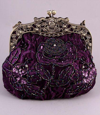 Purple Beaded Victorian Purse