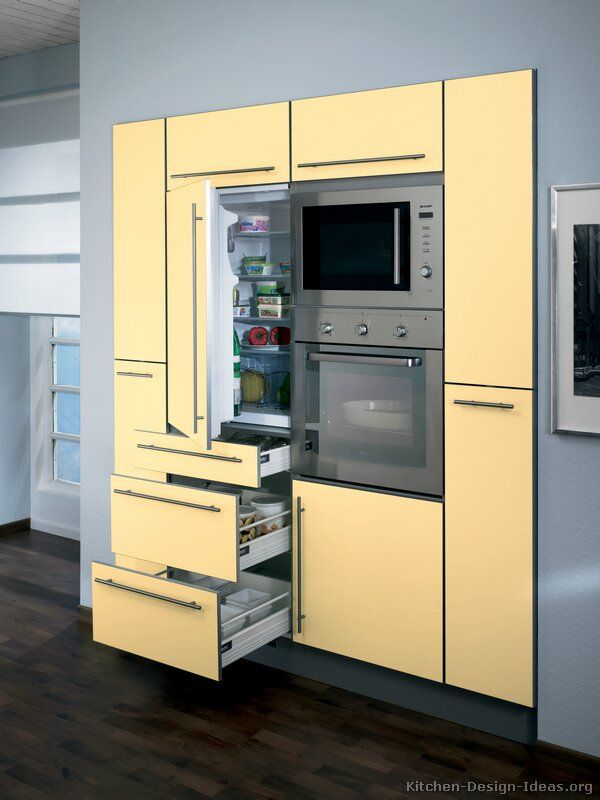 110 best images about yellow kitchens on pinterest for Built in oven kitchen cabinets