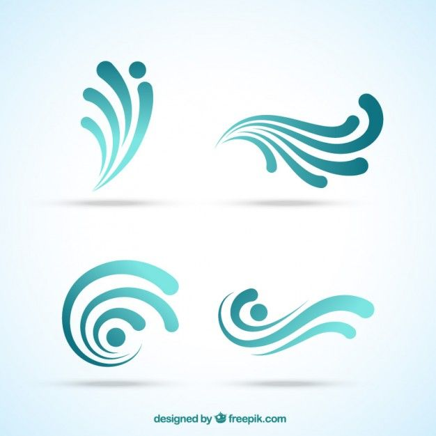 Abstract wave logos Free Vector