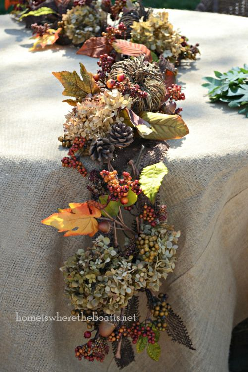 DIY Rustic Autumn Table Garland - Do an S-curve and add in what you have. Amber glass, brass, goldtone flatware, gold chargers, extra leaves (real) scattered on the table, a ceramic turkey or pumpkin....gourds and mini-pumpkins,.