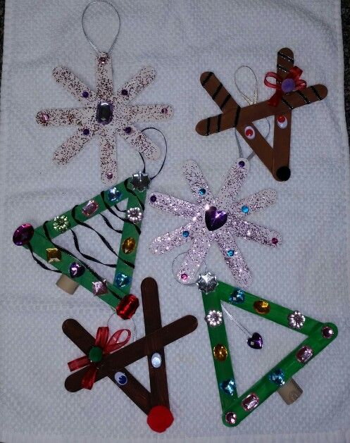 Popcicle stick Christmas crafts for kids. Christmas tree. Reindeer. Snowflake.