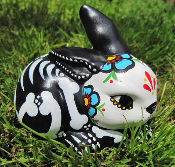 Day of the Dead BUNNY Skeleton Rabbit Statue by illustratedink