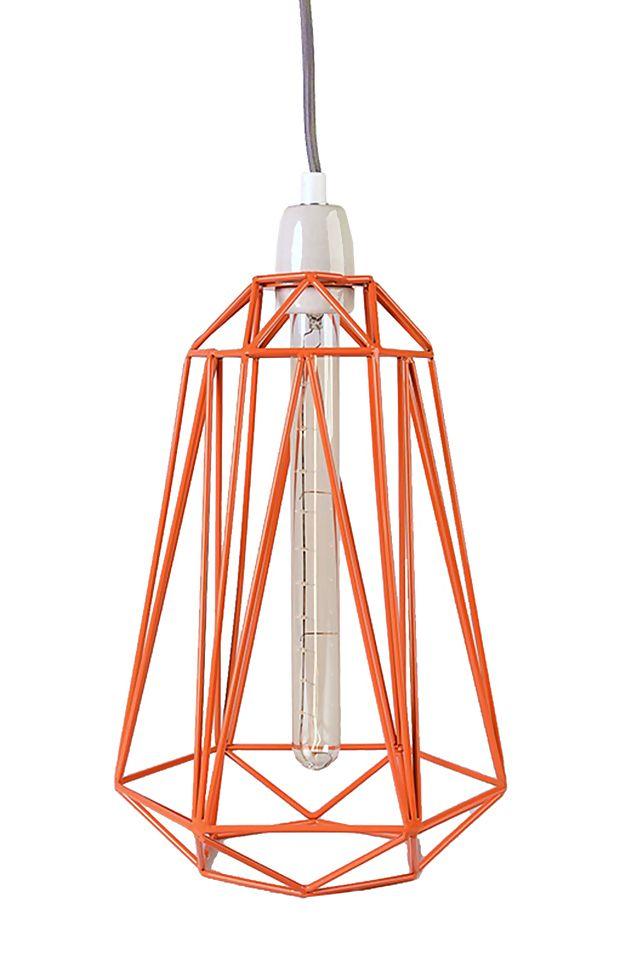Lampe Diamond #5 orange/gris - Filament Style - Visuel 1
