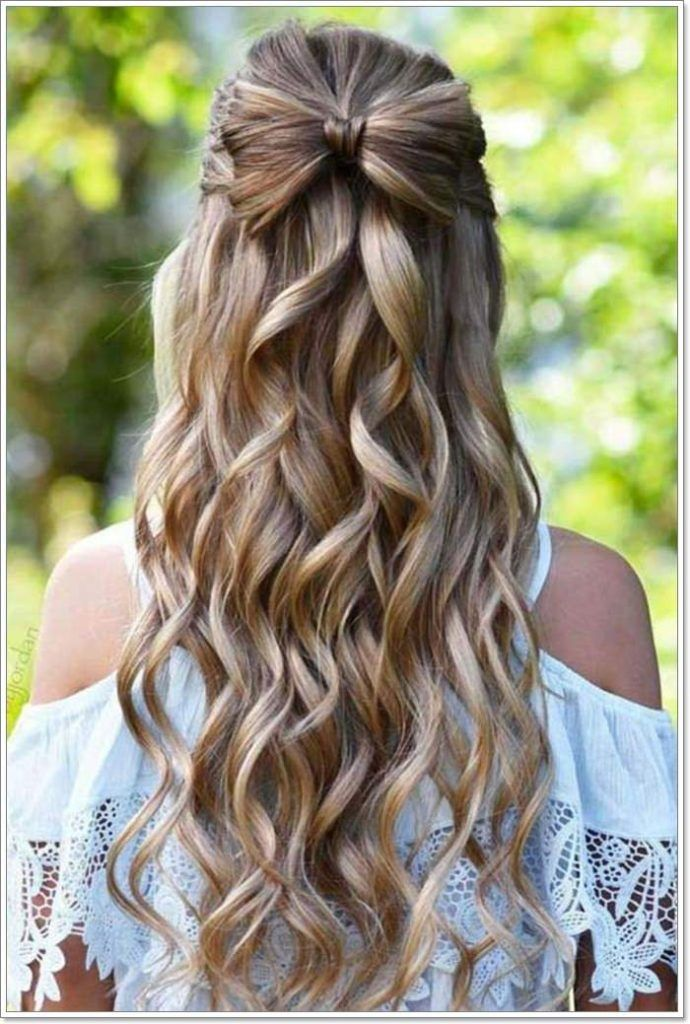 Bow Shaped Half Up Hairstyle In 2020 Prom Hairstyles For Long Hair Long Hair Girl Medium Hair Styles
