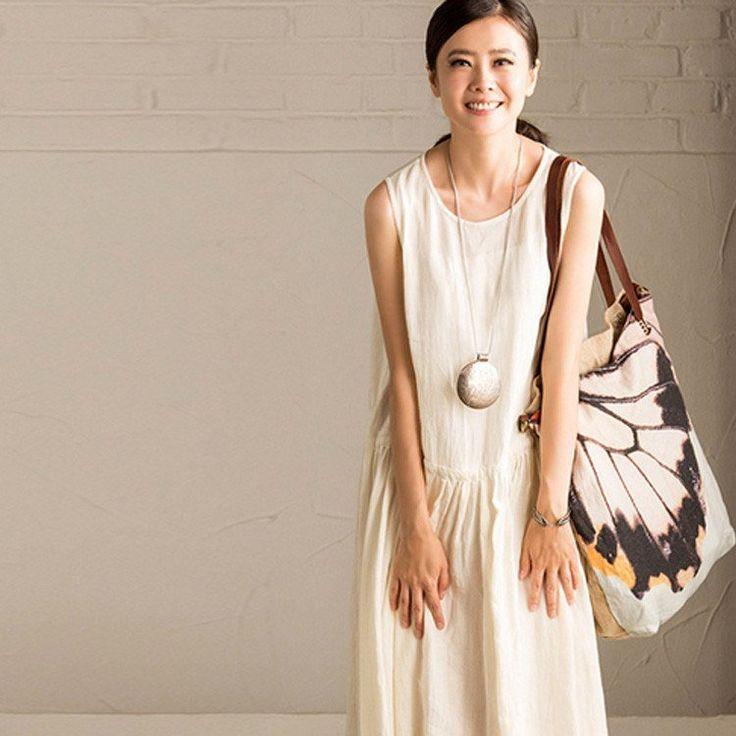 Women's linen shoulder bag