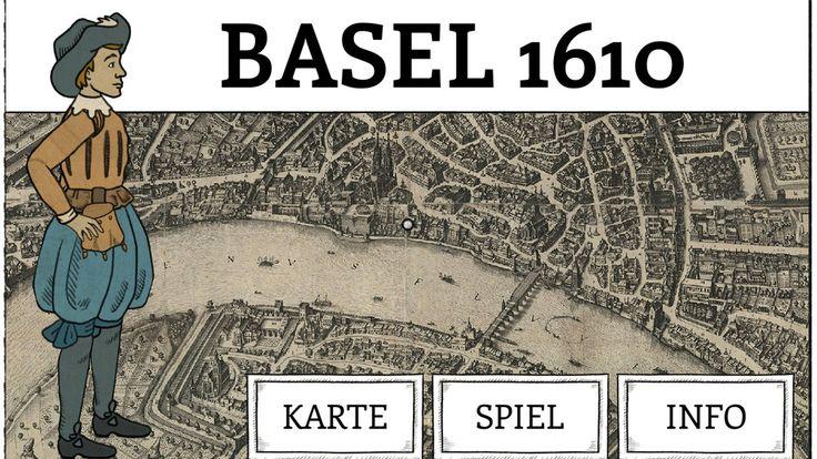 """Screenshot des Spiels: Junge steht auf historischer Karte Basels, unten hat es Boxen mit den Aufschriften """"Karte"""", Spiel"""", """"Info"""""""