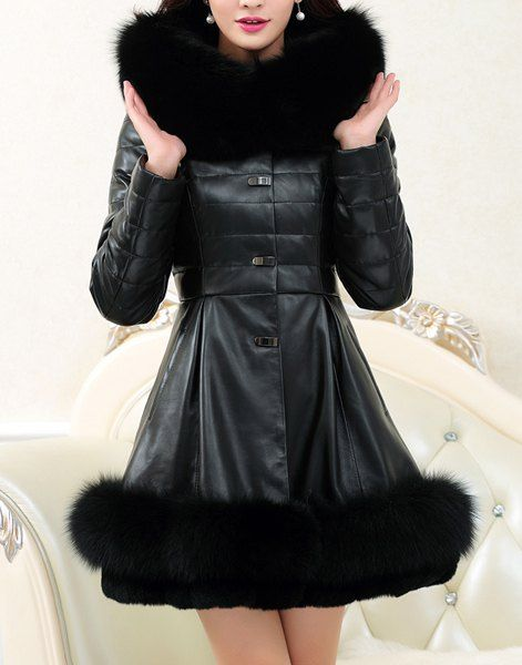 Long Sleeves Solid Color PU Leather Splicing Stylish Hooded Long Coat For Women
