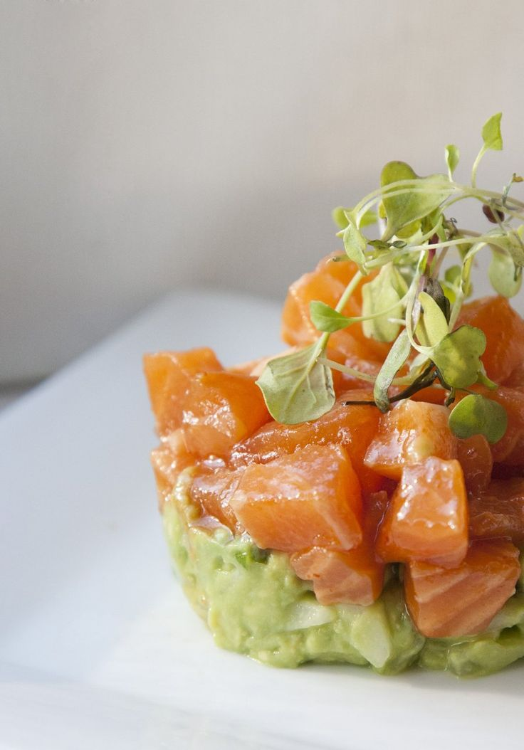 ceviche salmon with avocado. Sounds good (without the avocado)