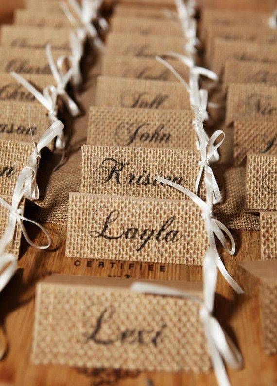 Burlap Wedding Place Cards  Burlap Name Tags  by SpoolsAndBobbins, $40.00