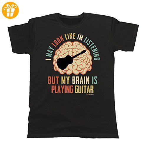 Herren T-Shirt I May Look Like Im Listening BUT My Brain is Playing GUITAR Acoustic Musik akustische gitarre (*Partner-Link)