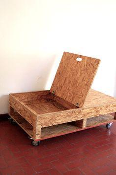SALA MODULAR, madera OSB, tela y llantas. by Sofia Beas, via Behance