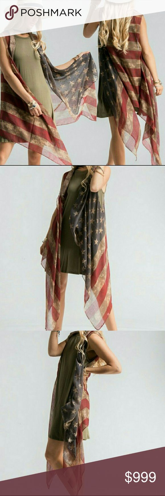 "*Arriving this Week* Americana Vest Americana sheer vest one size: 39"" x 71"".  (100% polyester). Wear with jeans, over bathing suit, or as a shawl. (#I582) Price: 25$ Fashionomics Accessories Scarves & Wraps"