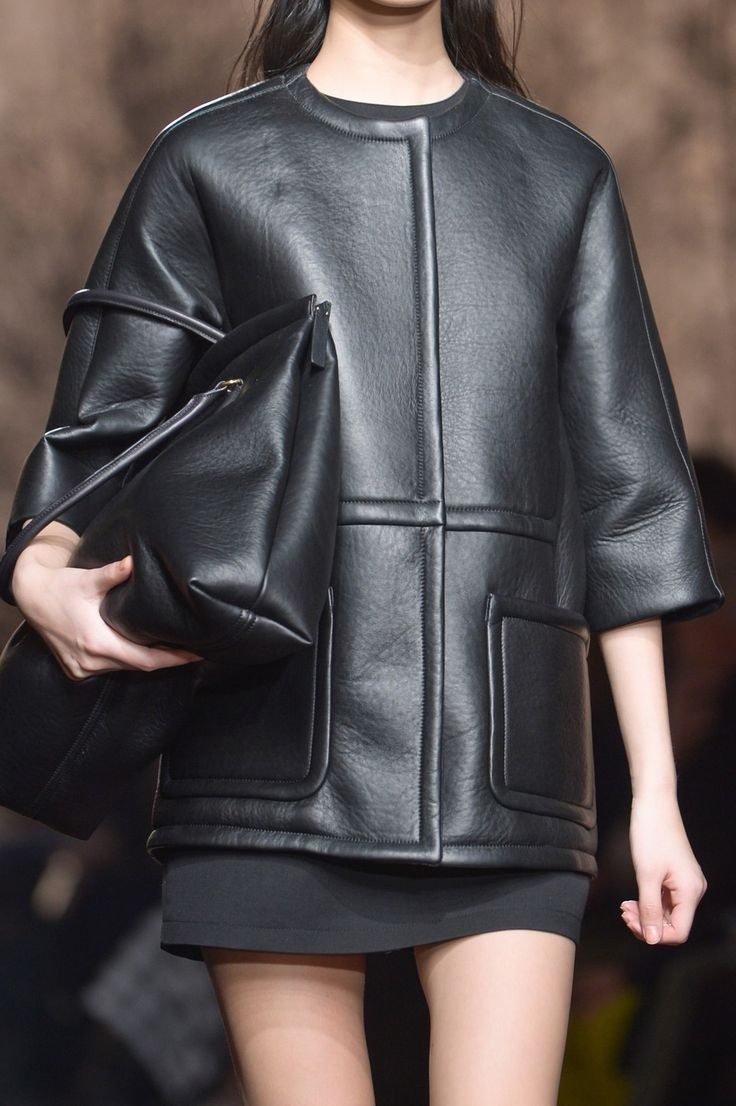 Smooth leather jacket with patch pockets & topstitching, chic fashion details // Marni Fall 2013