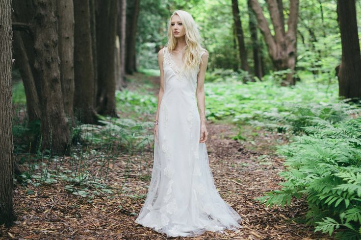 The Amber: Lace and tulle bohemian wedding dress.