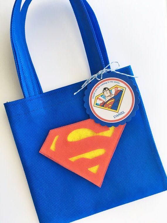 Conjunto de 12 bolsas de Favor de Superman con por SalomeCrafts