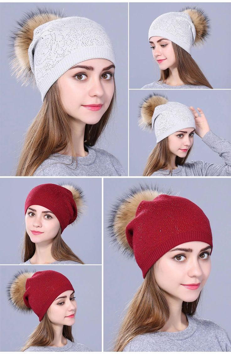 Xthree New Rhinestone Winter Hat For Women Girl Warm Wool Knitted Beanie Skullie Real Fur Pom Gorro – Fashion 2019/2020