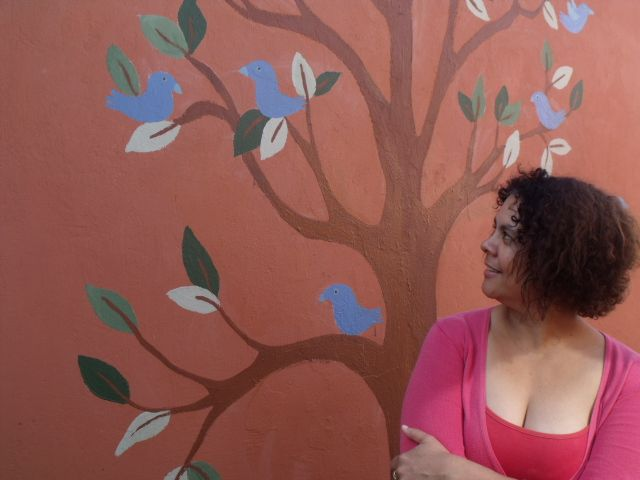 My tree mural - found the picture on the internet and adapted for an outside wall...