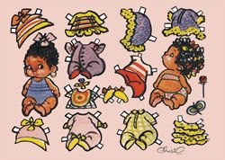 Kort - PD Christels små afrikanske piger infant paperdoll - black / African-American / person of color