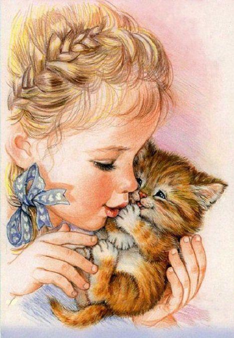 Схема вышивки «девочка и котенок» - Схемы вышивки - Светлана159 - Авторы - Портал «Вышивка крестом»