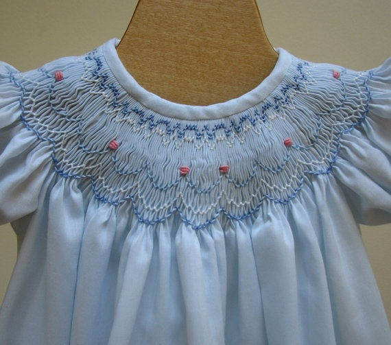 Hand Smocked Bishop Dress Newborn - 3 months, 6 months, 12 months. $50.00, via Etsy.