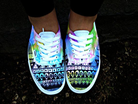 Watercolor Tie Dye Tribal Vans order by the 16th to by VelvetSole, $90.00