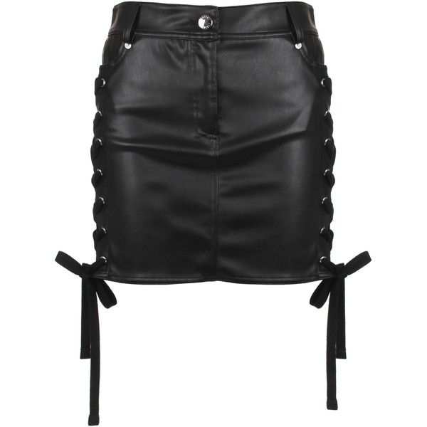 Versus Versace ZXV Lace-Up Eco Leather Mini Skirt ($645) ❤ liked on Polyvore featuring skirts, mini skirts, pocket skirt, zipper mini skirt, short skirts, lace up skirt and mini skirt
