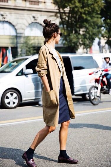 trench coat, graphic tee, pencil skirt, socks and loafers.