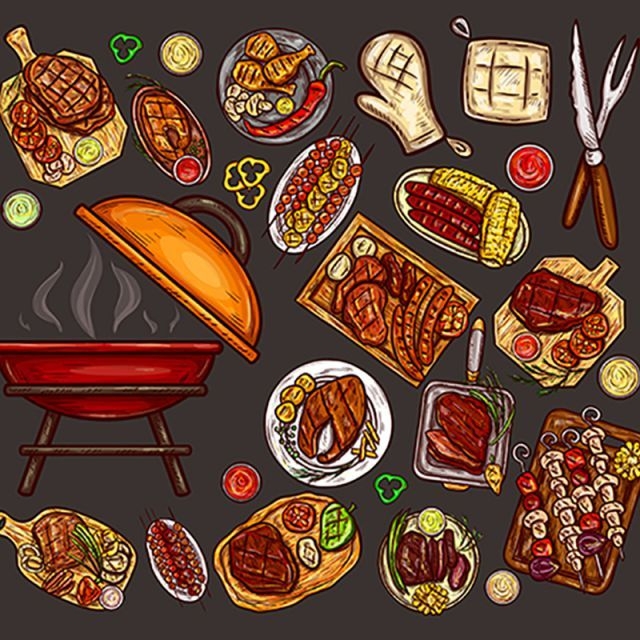Set Of Vector Illustrations Elements For Barbecue Barbecue Food Meat PNG and Vector with Transparent Background for Free Download Recipe drawing Illustration Food art