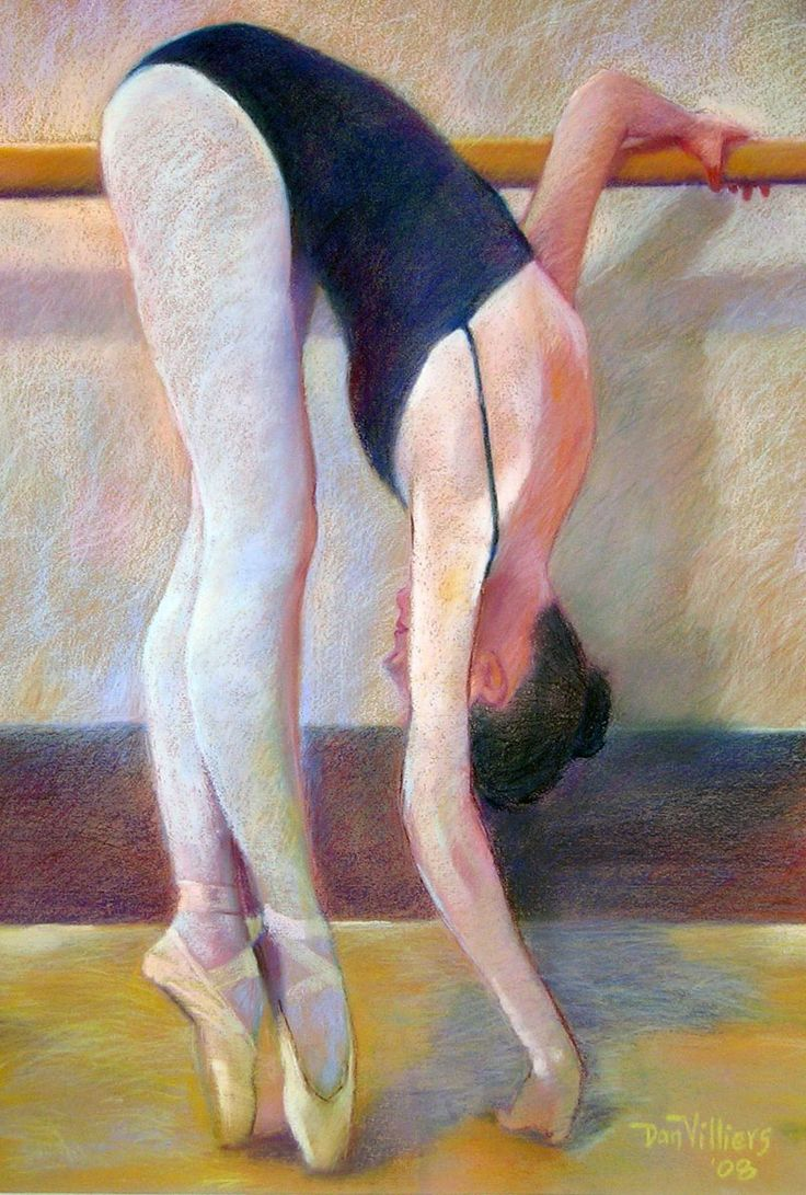 'At The Barre'. Pastel painting by Dan Villiers