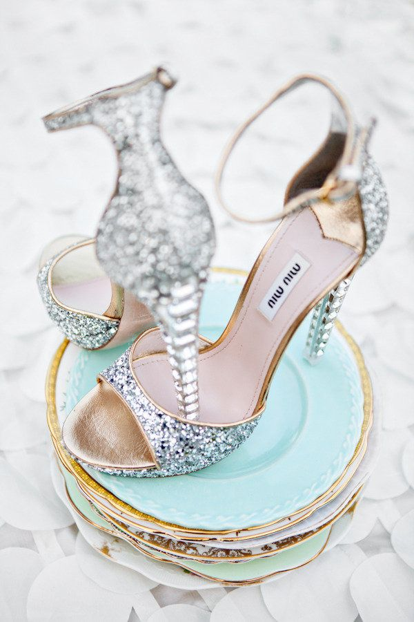 Glittery Miu Mius  Photography: Kelly Dillon Photography - kellydillonphoto.com Event Planning + Styling: mStarr event styling + design - mstarreventdesign.com - View entire slideshow: 20 Wedding Shoes that Wow on http://www.stylemepretty.com/collection/221/
