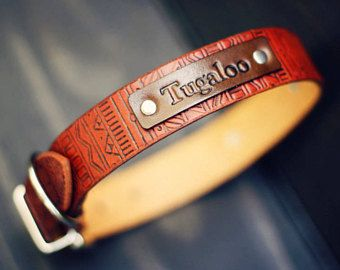 Leather Dog Collar, Custom Dog Collar, Personalized Leather dog collar, number, Tan Stain, Aztec tribal pattern, dog collar, FREE Name