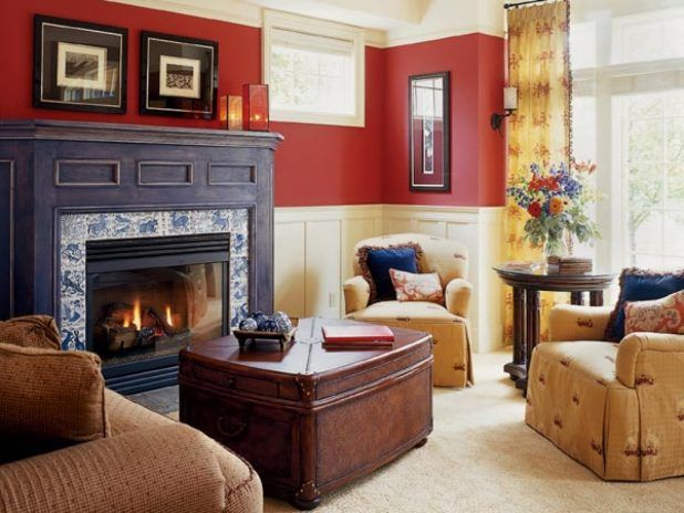 Traditional living room interior design ideas with red and white wall using black ignition complete picture frame and windows of curtain using set sofa soft sponge fabric cushion use dark brown wooden table that have white carpeted flooring designs idea