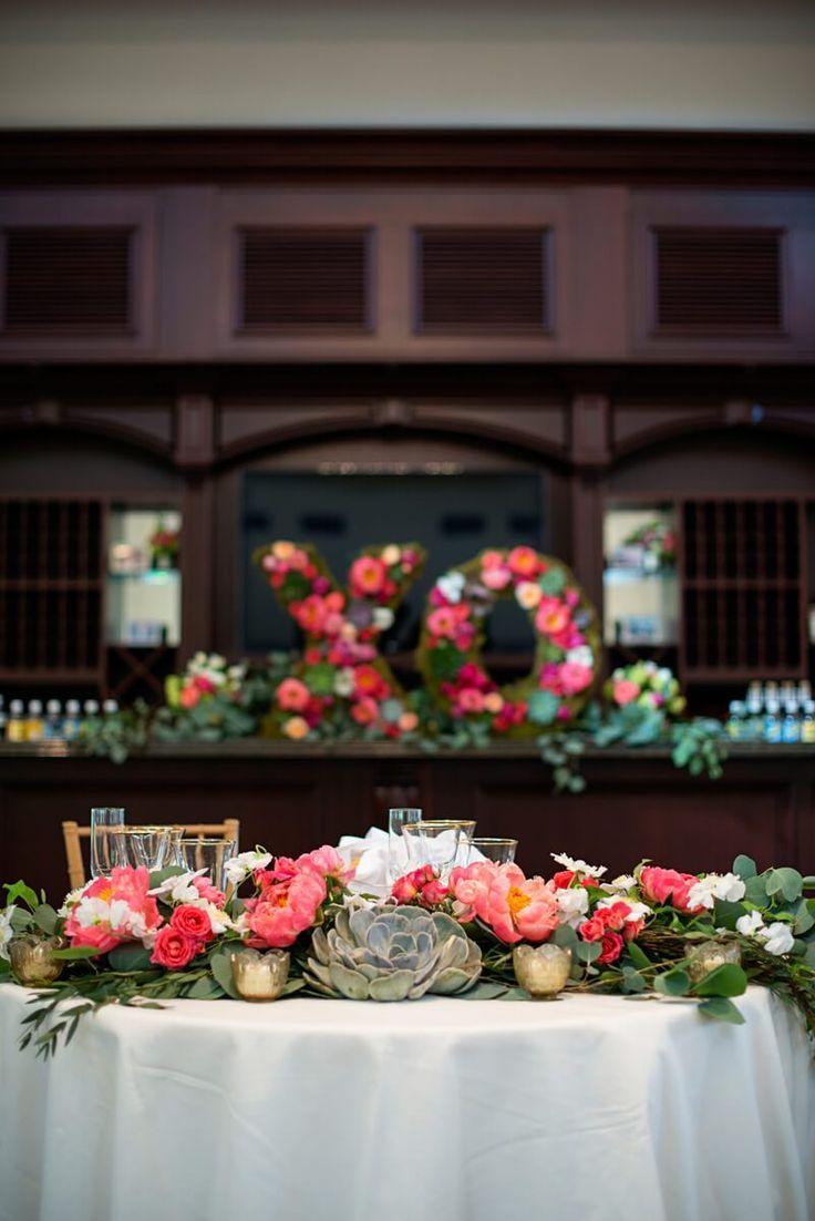 XO floral decor from a Romantic Vineyard Virginia Wedding